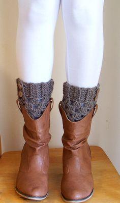 boot topper, fashion, crochet boot cuffs, natur wool, crochet boot socks, legs, brown heather, boots, leg warmers