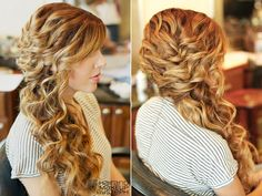 I'm having the hardest time finding curly hair styles that aren't updos that I don't hate....especially that would work well with a birdcage Curly Hairstyles, Curly Side Wedding Hair, Curly Hair Styles Prom, Curly Hair Styles Updo, Curly Side Swept Hairstyles, Curly Side Hair, Curly Hair Side, Curly Hair Wedding Styles, Romantic Curly Updo