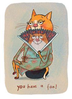 con el abanico, ilustración de Tor Freeman