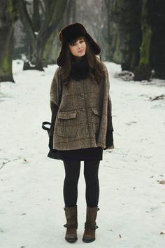 Winter Wardrobe. hats, casual style, fashion, inspiration, cloth, capes, autumn, winter looks, coat
