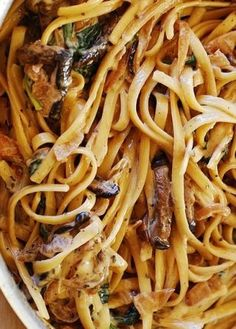 Creamy Mushroom Pasta with Caramelized Onions  Spinach #recipe #love