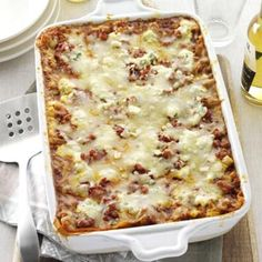 Wingless Buffalo Chicken Lasagna Recipe from Taste of Home. -- Submitted by Melissa Millwood of Lyman, South Carolina.  #Lasagna
