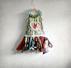 Girl's Boho Dress 5T Toddler Jumper Eco Friendly Clothing Woodland Fairy Shabby Chic Clothes Green Blue Christmas Dress Kid's Wear 'MAYA'