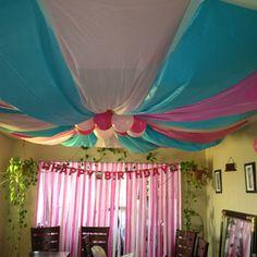 Birthday Party ceiling Decor! Happy birthday Princess Abi!