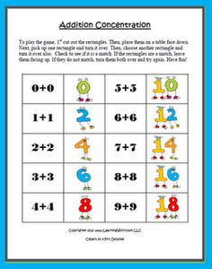 Concentration Game - Addition Facts