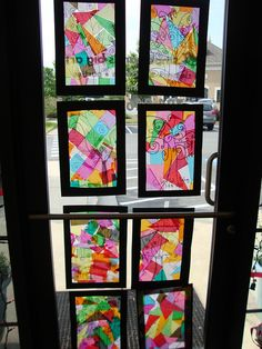 Window art...tissue paper with black paper. Beautiful to brighten up those cold dreary grey Winter days! Do in any shape you wish. You can use clear contact paper on the black frame, then stick the tissue paper to the contact paper. Easy for kids! Older kids can use a Sharpie marker to draw abstract designs onto the contact paper as shown in the photo.