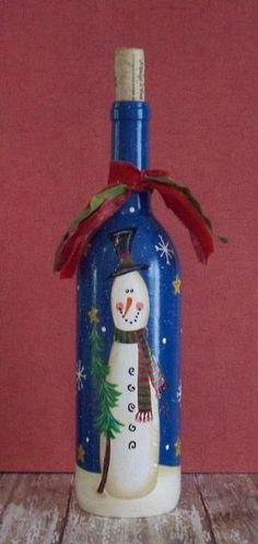 Mão do boneco de neve de Inverno Garrafa de Vinho pintado por maria beatriz