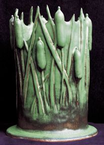 Carol Mead Pottery | Cattails Vase | Arts & Crafts