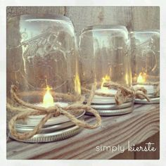 Use Candle Impressions flameless tea lights to get this look with twine. TIP: nail the lids down to wood to make this a permanent outdoor fixture or hang upside down as a chandelier