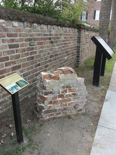 Outdoor exhibit with a portion of the original brick defensive wall that protected Charleston. This wall was recovered during archaeological excavations in 2008 - Wayside at Adger's Wharf, Charleston | Flickr #archaeology #southcarolina #history #scarchaeology #schistory