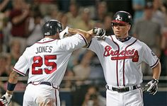 Two of my favorite Braves players (Tim Hudson is the 3rd)---Andruw Jones #25 (Andruw is where I got the #25 :) ), Chipper Jones #10