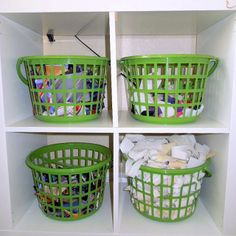 "Dollar store baskets to store fabric scraps - Upcycle Your Life ""Craft Room Storage Ideas on a Budget"""