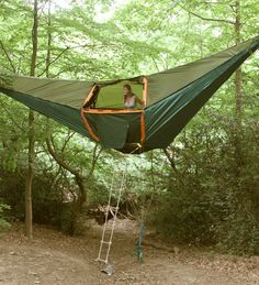 Upside-down hammock tent...awesome.
