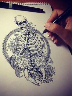 tumblr_mgm0z1GDJd1rzd84so1_500.jpg 500×662 pixels tattoo ideas, skull, tattoo sketches, tattoos, bone, art, skeletons, tattoo patterns, ink