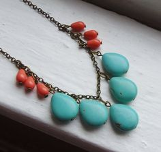 Coral and Turquoise Bib Necklace Statement by lakeshorecreations4u, $34.00