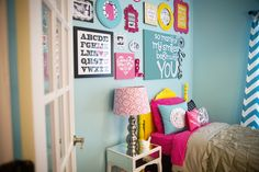 Lots of DIY and color in this bright #biggirlroom