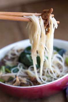 Chinese Mushroom Noodle Soup - This beautifully flavorful recipe is a quick & easy soup with an oriental twist that'll win over family and friends!
