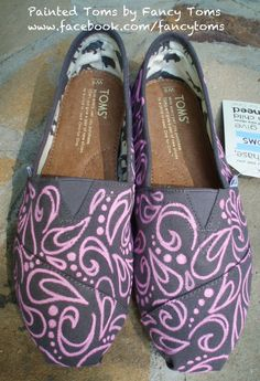 Handpainted Custom TOMS Shoes  Swirls and Spots PINK by FancyToms, $85.00