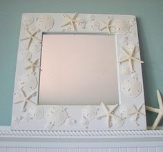 Beach Decor Shell Mirror   Nautical Seashell by beachgrasscottage, $149.00