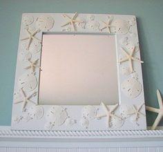 Beach Decor Shell Mirror   Nautical Seashell by beachgrasscottage, $149.00