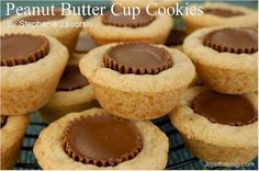 I've made peanut butter cookies with PB cups or a Hershey on top, but something about making them into mini muffins, and having the cup totally surrounded by cookie makes them that much more delish!  I use the Betty Crocker peanut butter cookie mix in a bag.....so easy!!