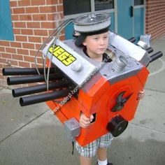 Halloween 2010 Coolest Homemade Costume Contest Runner-Up.  Car Engine costume submitted by Chet from Chino, CA...