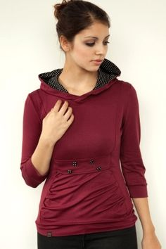 jersey hoodie  red  buttons  polka dots by stadtkindpotsdam, $79.00