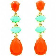 Coral Orange & Turquoise Stone Teardrop Earrings