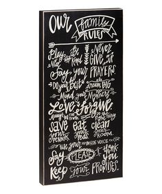 'Our Family Rules' Box Sign by Collins #zulily #zulilyfinds