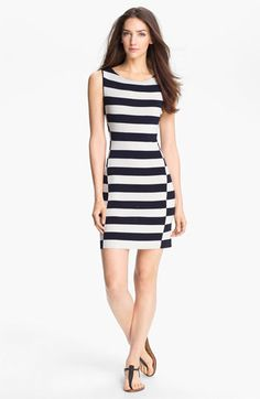 Side seam angles toward front as it goes down, stripe is purposely miss matched at seam. Basic body con sheath dress.
