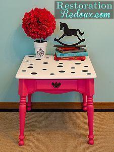 Pink Polka-dot Table - (so cute!)