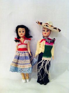 Vintage Mexican dolls Mid Century Mexican Senor and door Comforte