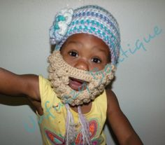 FREE - Crochet Pattern for beanie with detachable beard. Sizes Med/Lg/XLg with a Sm coming soon!