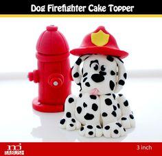 Firefighter Dog cake topper. $30.00, via Etsy.