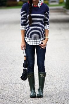 Mixing patterns. Striped sweater with windowpane plaid button down shirt, plus skinny jeans and rainboots/wellies. Fall, winter, spring fashion.