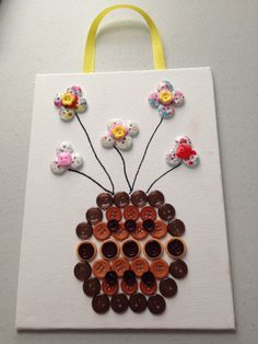 ButtonArtMuseum.com - Original Button Flower Vase and Flowers Art on 6 x 8 Canvas Board