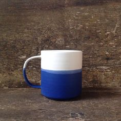Handmade Danish Mug in Cobalt and White by paperandclaystudio, $42.00