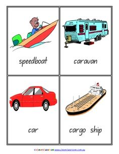 Transport Vocabulary/Flash Cards - Word Wall - 9 pages $
