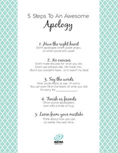 5 Steps to an Awesome Apology (Printable)
