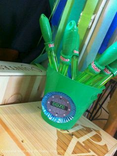 "Birthday Teenage Mutant Ninja Turtle Party- green bubble wands make great ""ooze!"""