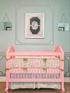 turquoise gray walls nursery with pink crib. <3 the crib