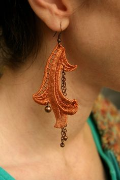 lace earrings LUCILLA burnt orange.....tinaevarenee on Etsy....#fashion #earrings #jewelry #lace #trends
