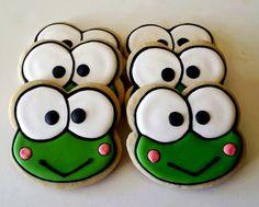 Six Keroppi face sugar cookies. by jaynessugarshack on Etsy, $21.00
