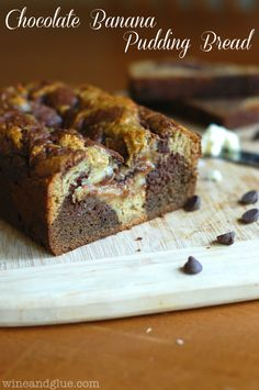 Chocolate Banana Pudding Bread!  The best of both two breads marbled into one super bread! via www.wineandglue.com