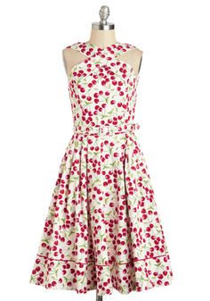 lovely cherry pattern with full skirt and crossover neckline good for me or maids $272 Bing Your Praises Dress - White, Red, Novelty Print, A-line, Spring, International Designer, Green, Fruits, Sleeveless, Belted, Daytime Party, Vintage Inspired, 50s, Luxe, Cotton, Long, Pockets