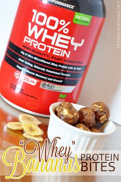 """whey"" Bananas Protein Bites with @Gail 100% whey vanilla #protein - no added or refined sugars #GNCTreatYourself"