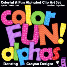 Color Fun - Alphabet Clip Art! Enter for your chance to win.  Alphabet: Color Fun! Alphabet Letters Clip Art (490 pages) from Dancing_Crayon_Designs on TeachersNotebook.com (Ends on on 9-8-2014)  Alphabet clip art letters in bright colors and patterns.
