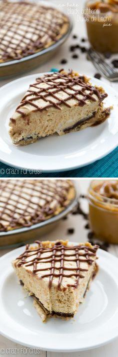 No-Bake Black Bottom Dulce de Leche Pie | crazyforcrust.com