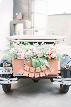 'just married' getaway car