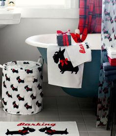 I love these Scottie dog and plaid details for a bathroom